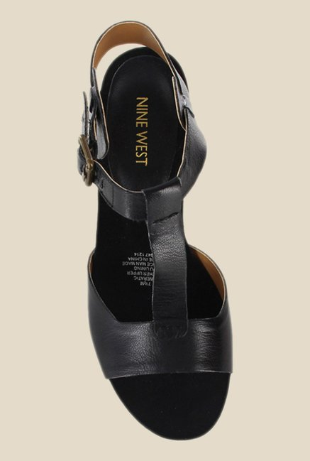 Nine West Black Ankle Strap Wedges