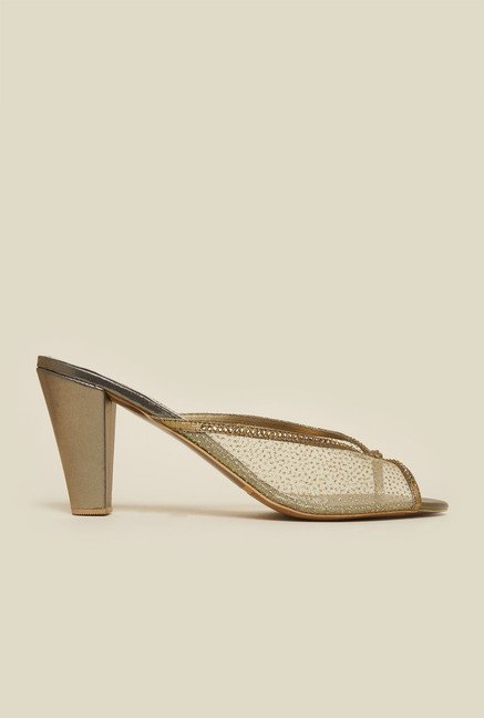 Metro Antique Gold Beaded Mules