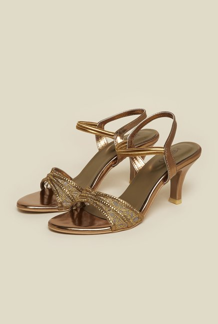 Metro Antique Gold Ankle Strap Stilettos