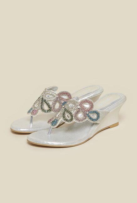 Metro Silver Wedge Sandals