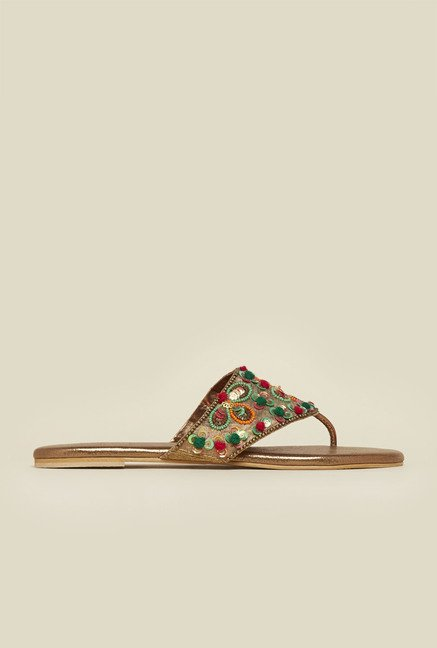 Metro Antique Gold Beadwork Sandals