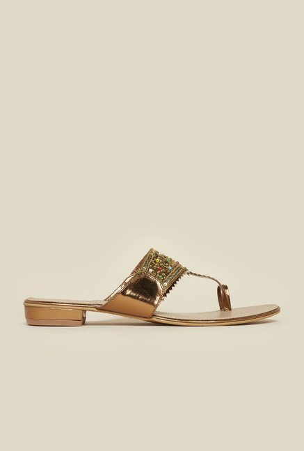 Metro Antique Gold Bead Sandals