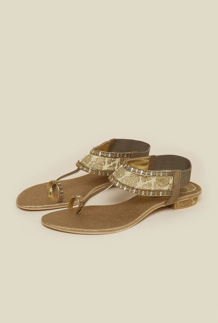 Metro Antique Gold Toe Ring Sandals