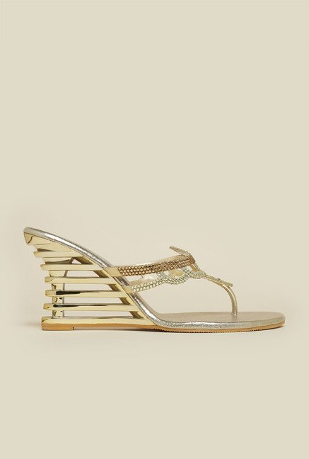 Haute Diva by Mochi Gold Slide Wedge Sandal