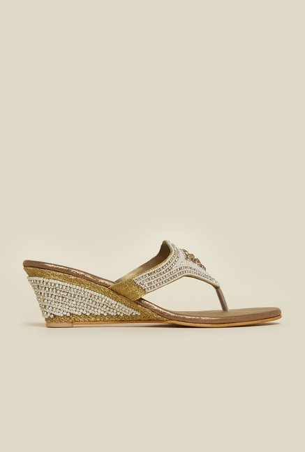 Metro Antique Gold Wedge Sandals