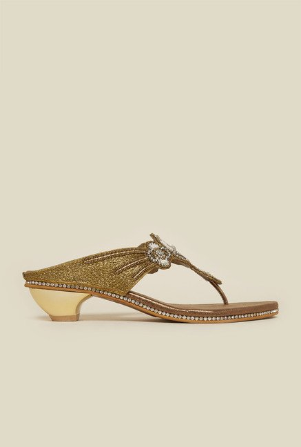 Metro Antique Gold Flat Sandals