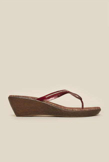 Metro Maroon Thong Wedges