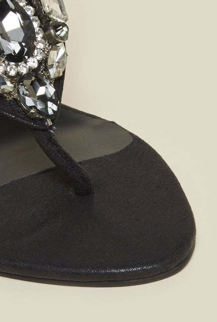 Metro Black Beaded Stiletto Sandals