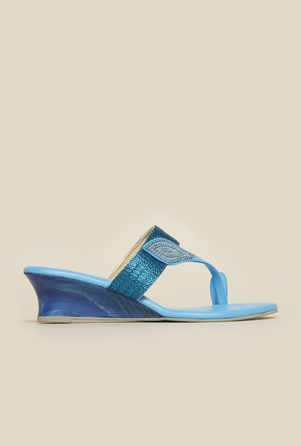 Metro Light Blue Beaded Wedge Sandals