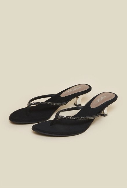Metro Black Beaded Kitten Sandals