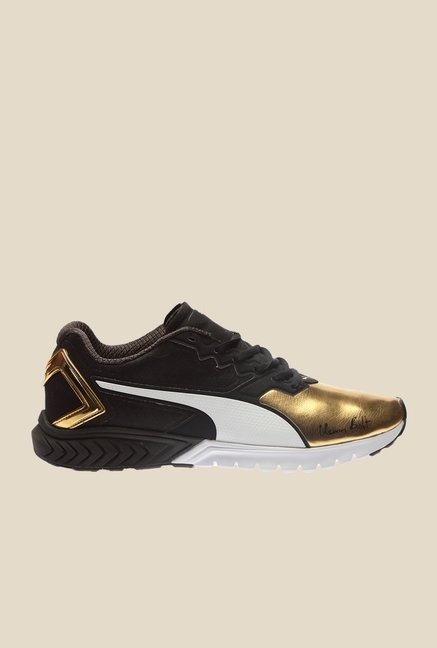 Puma Ignite Dual Bolt Black & Gold Running Shoes
