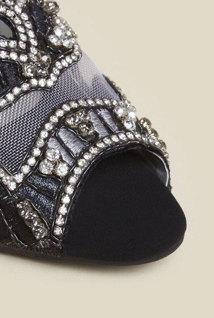 Princess by Metro Black Block Beaded Sandal