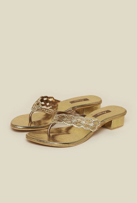Princess by Metro Antique Gold Thong Beaded Sandal