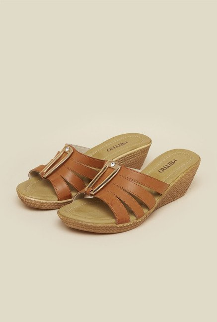 Metro Tan Mule Wedge Sandals
