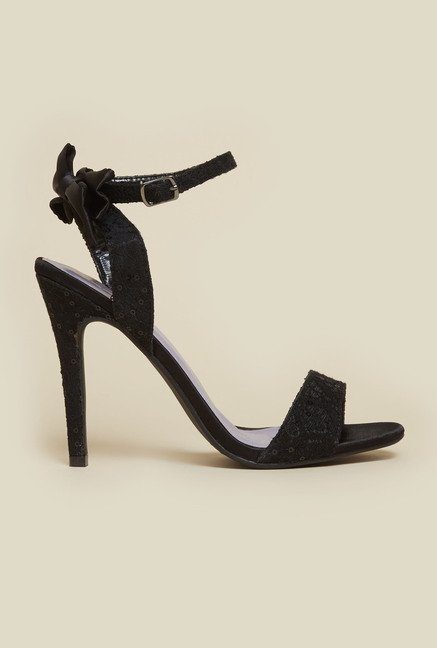 Metro Black Ankle Strap Stiletto Sandals