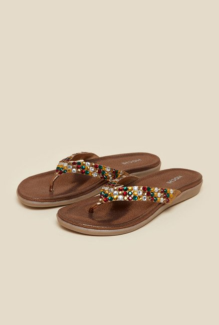 Mochi Antique Gold Flat Thong Sandals