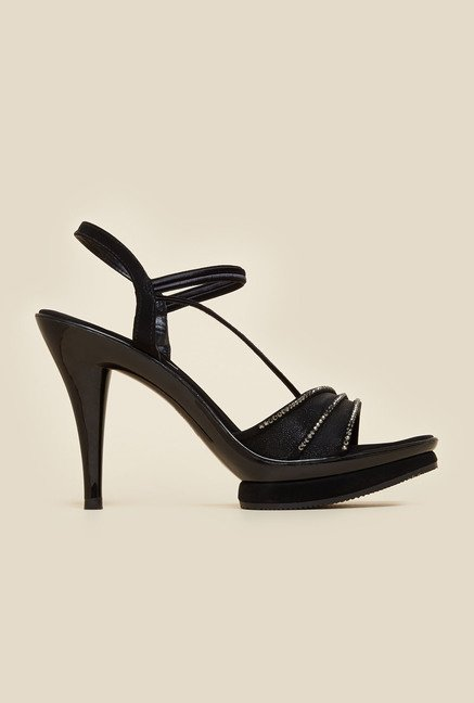 Haute Diva by Mochi Black Ankle Strap Stilettos