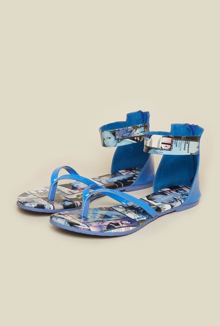 Metro Light Blue Ankle Strap Flat Sandals