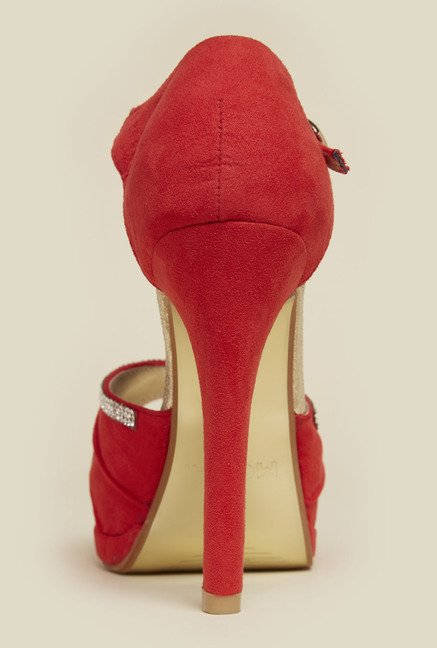 Haute Diva by Mochi Red Ankle Strap Stilettos