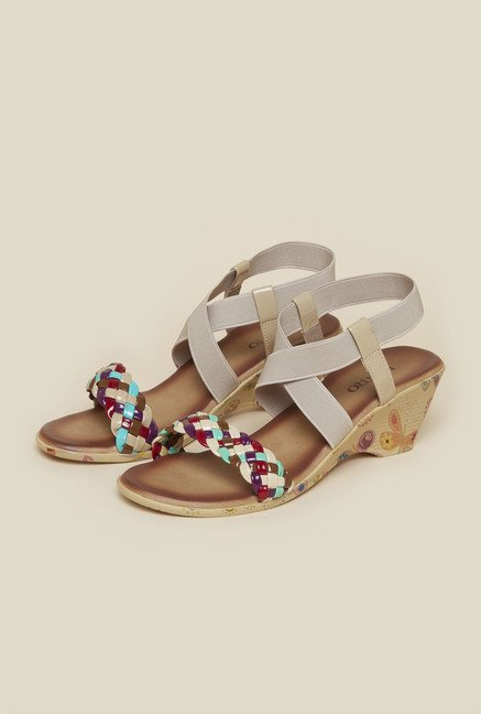 Metro Beige Cross Strap Wedge Sandals