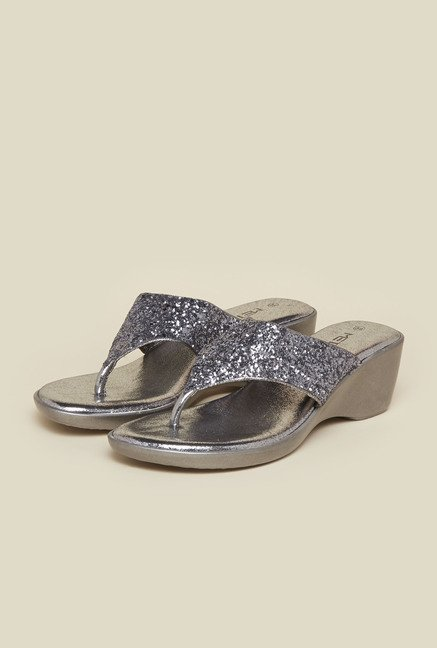 Metro Gunmetal Glitter Wedge Sandals