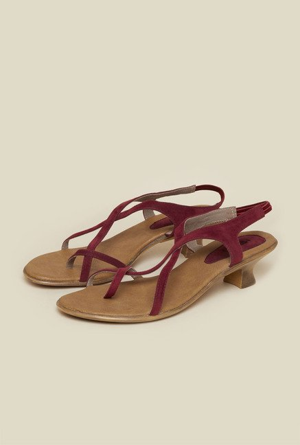 Metro Maroon Back Strap Kitten Sandals