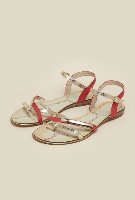 Metro Red Ankle Strap Flat Sandals