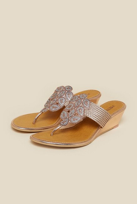 Metro Chikoo Wedge Beaded Sandal