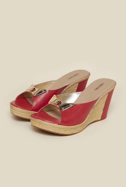 Metro Red Mule Wedges