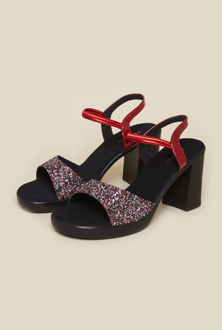 Metro Red Back Strap Block Sandals