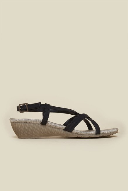 Metro Black Back Strap Wedge Sandals