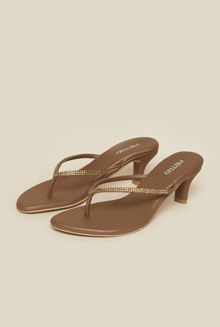 Metro Antique Gold Kitten Sandals