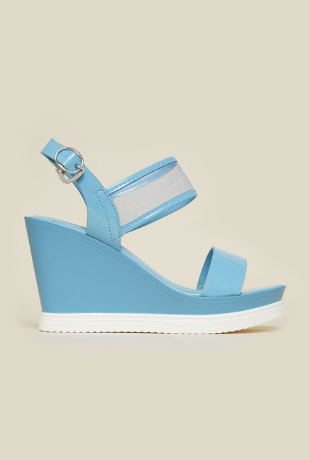 Metro Blue Back Strap Wedge Sandals