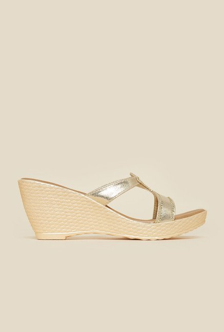 Metro Gold Mule Wedges