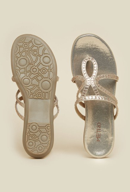 Metro Silver Flat Sandals