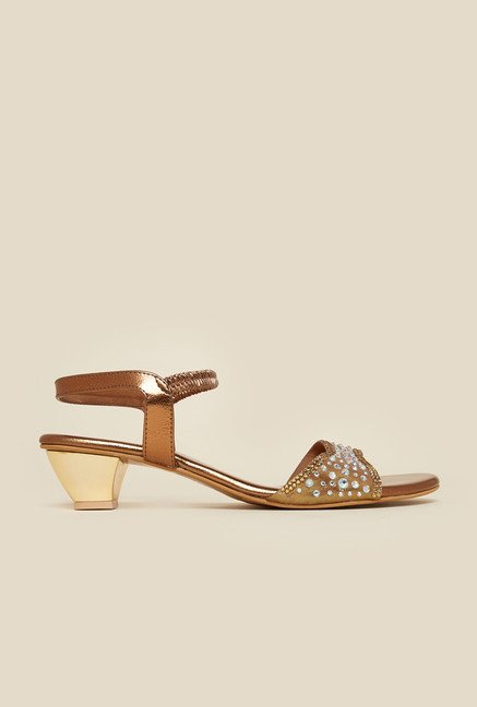 Metro Antique Gold Block Sandals