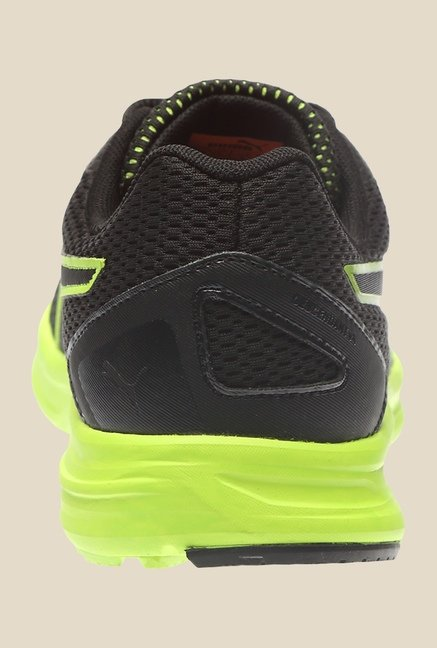 Puma Heritage V4 IDP H2T Black & Safety Yellow Running Shoes