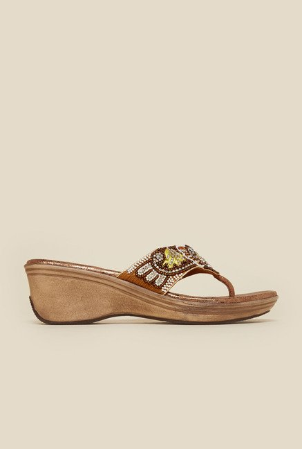 Metro Antique Gold Thong Wedge Sandal
