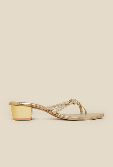 Metro Gold Block Beaded Sandal