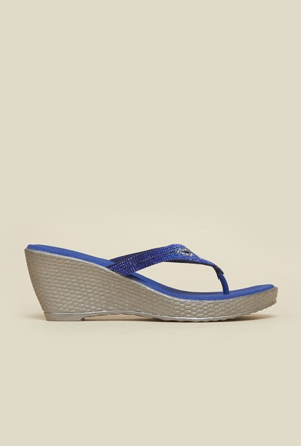Metro Blue Wedge Beaded Sandal