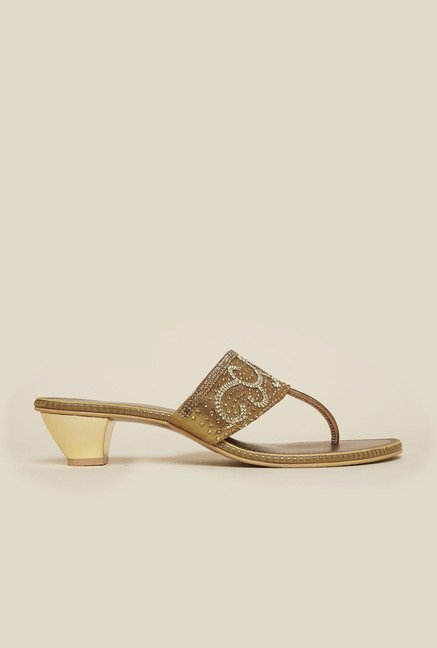 Metro Antique Gold T-Strap Cone Sandal
