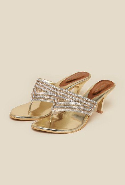 Metro Gold Stiletto Beaded Sandals