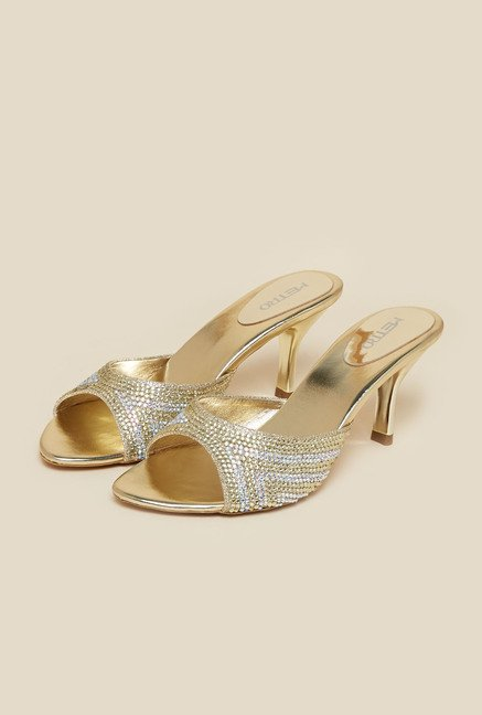 Metro Gold Mule Stiletto Sandals