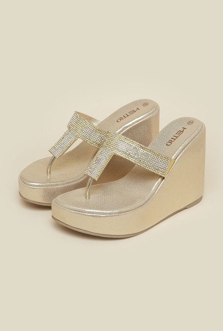 Metro Gold Diamante Wedges