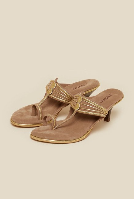 Metro Beige Toe Ring Kitten Sandal