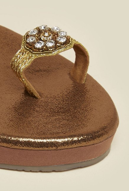 Metro Antique Gold Toe Ring Flat Sandal
