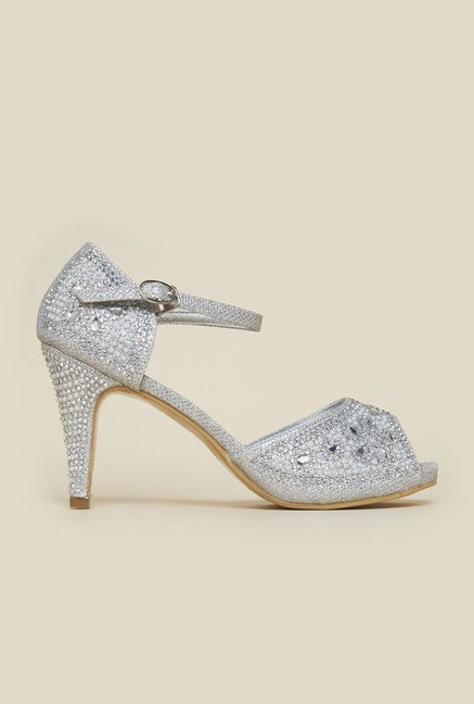 Princess by Metro Silver Ankle Strap Stilettos