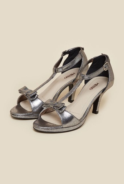 Metro Gunmetal Ankle Strap Kitten Sandals
