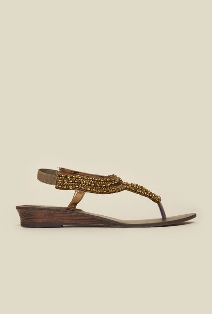 Metro Antique Gold Back Strap Flat Sandals