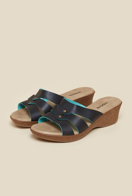 Mochi Black Wedge Mule Sandals